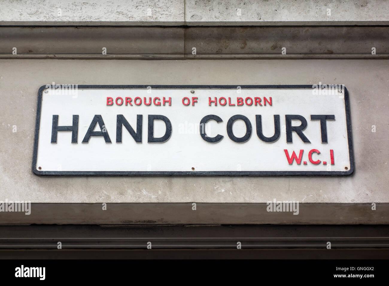 Hand Court road name sign, Borough of Holborn, London, UK - Stock Image