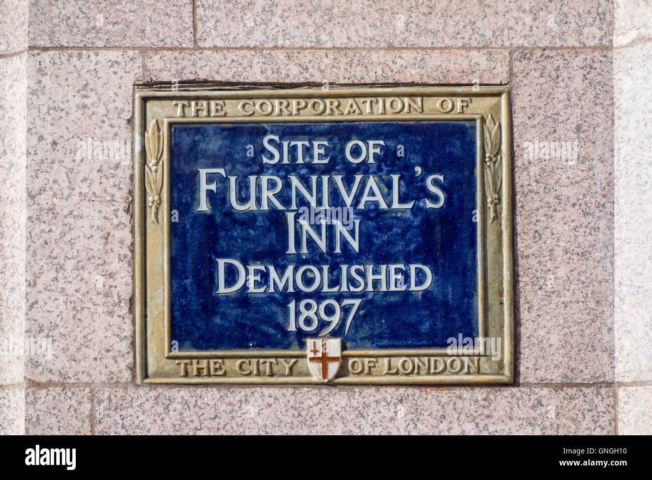 Blue plaque showing the former site of Furnival's Inn, demolished 1897. London, UK - Stock Image