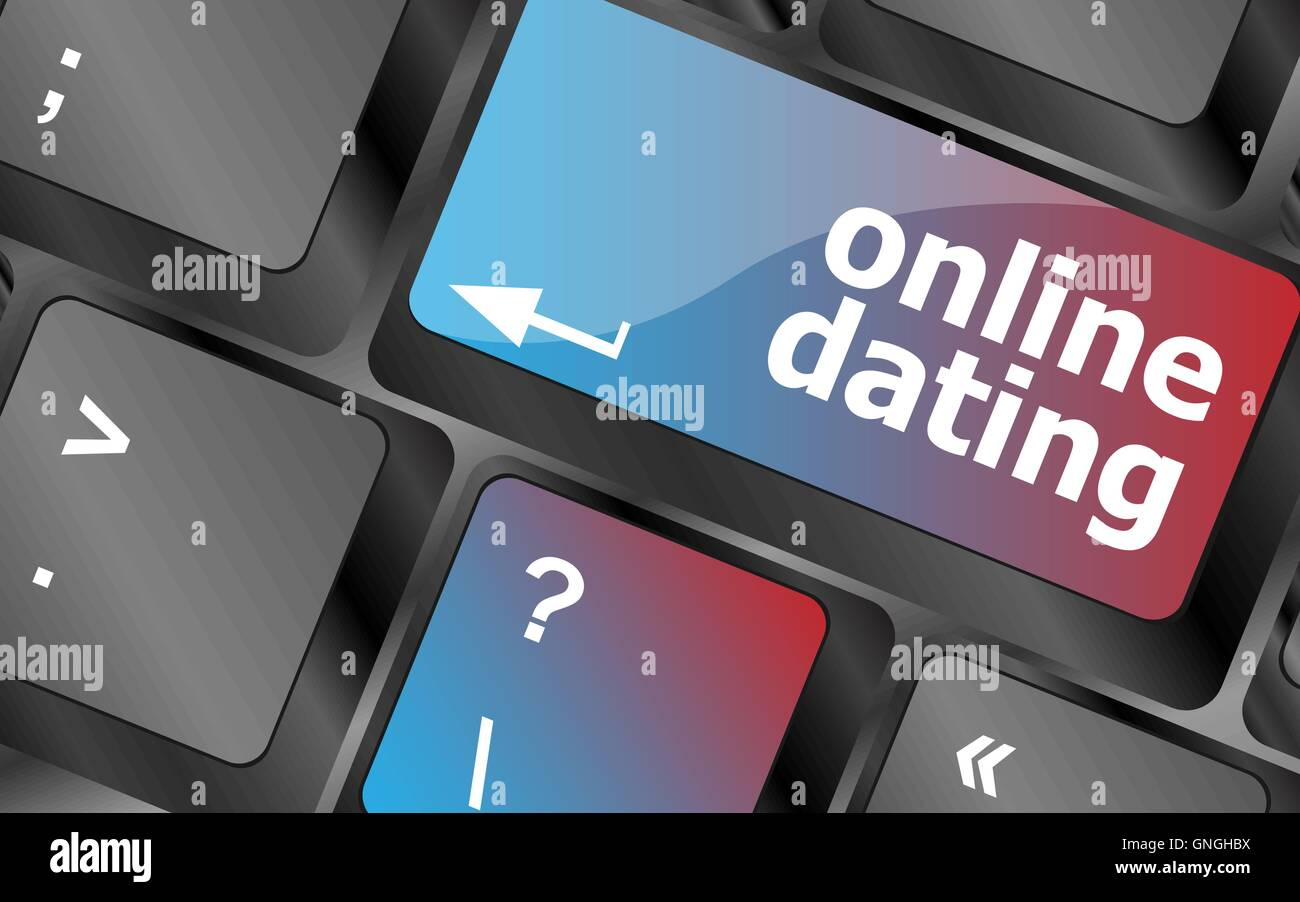 A keyboard with a online dating button - social concept . keyboard keys. vector illustration - Stock Image