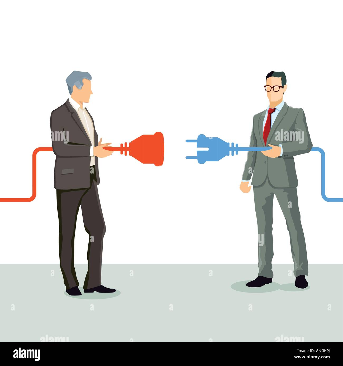 Businessmen connect cooperation - Stock Image