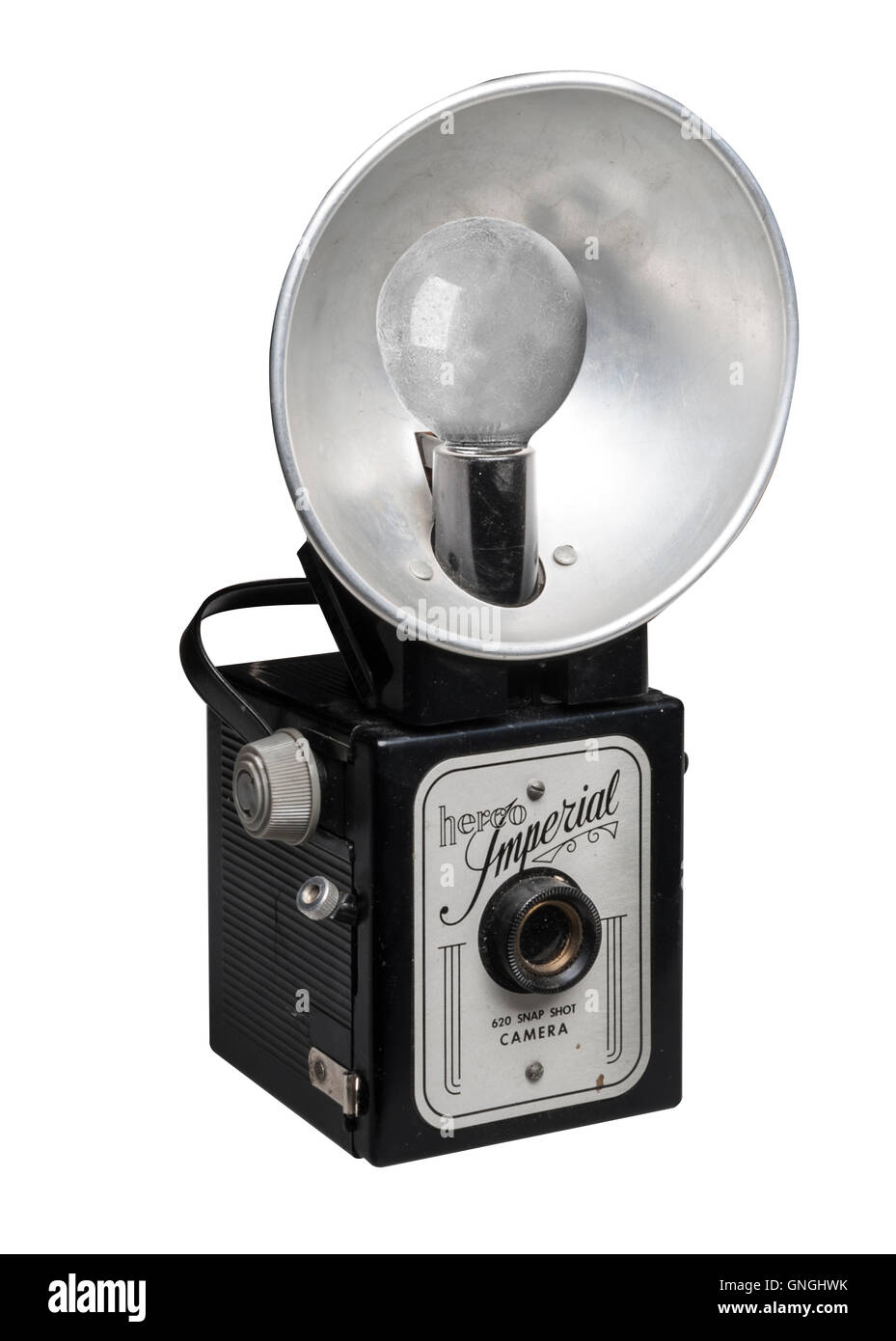 Mid-Century Herco Imperial Film Camera with Flash Bulb Attachment - Stock Image