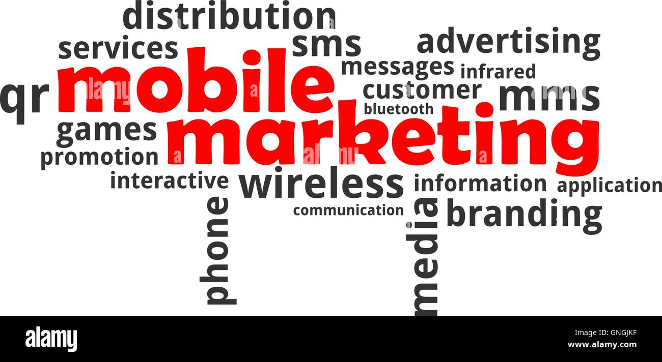 word cloud - mobile marketing - Stock Image