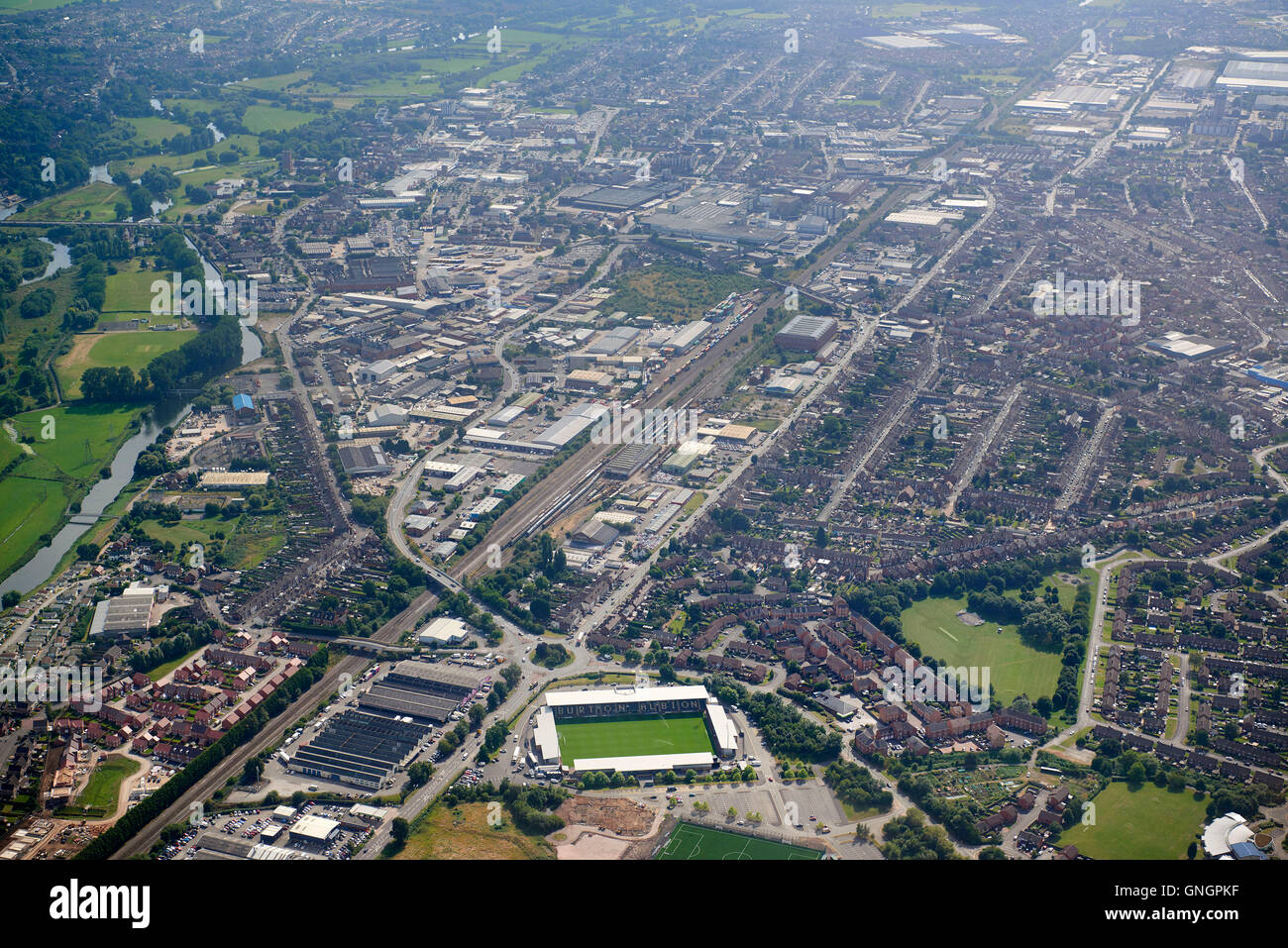 An aerial view of Burton upon Trent, East Midlands, UK. Football ground foreground - Stock Image