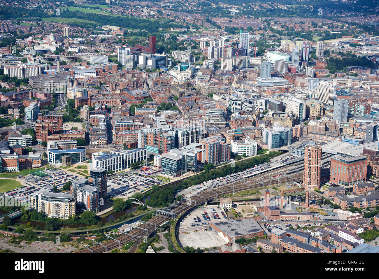 Leeds City Centre from the air, featuring the business district, West Yorkshire, Northern England, UK - Stock Image