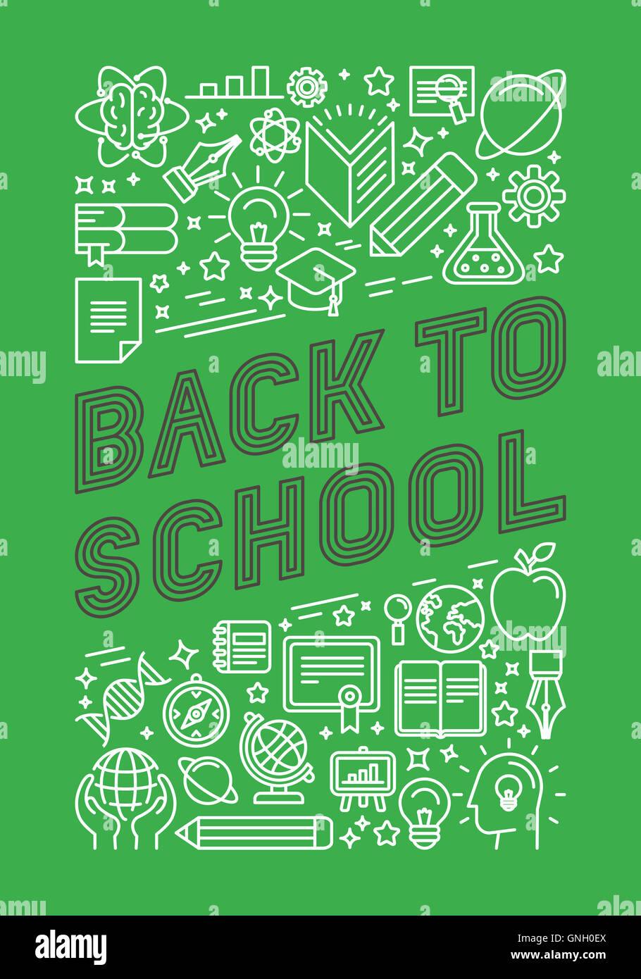 Trendy Poster Designs: Back To School Poster Design In Trendy Linear Style