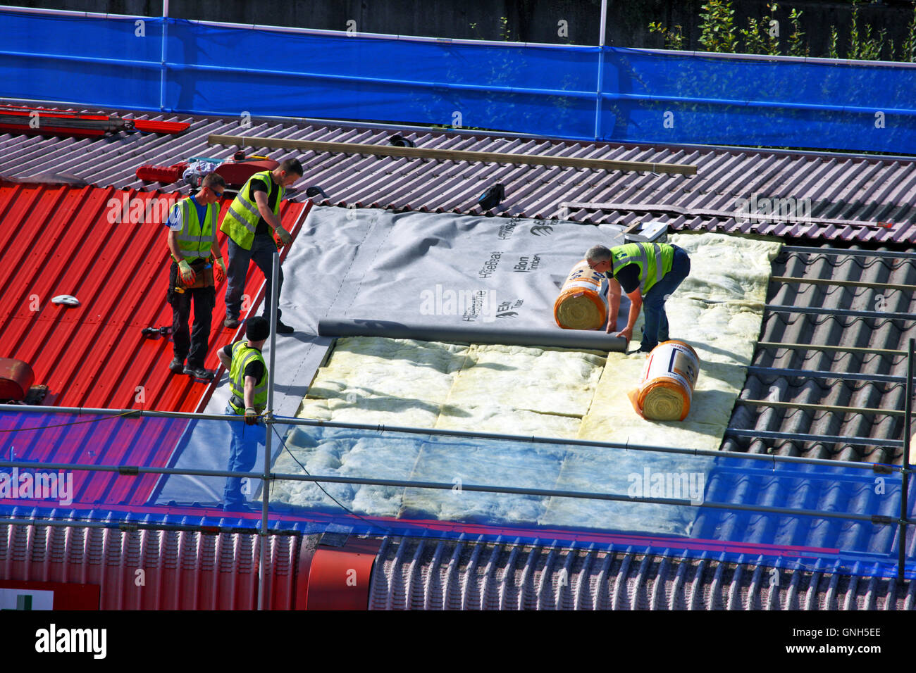 Workmen insulating and sheeting a red roof in Paisley Scotland - Stock Image