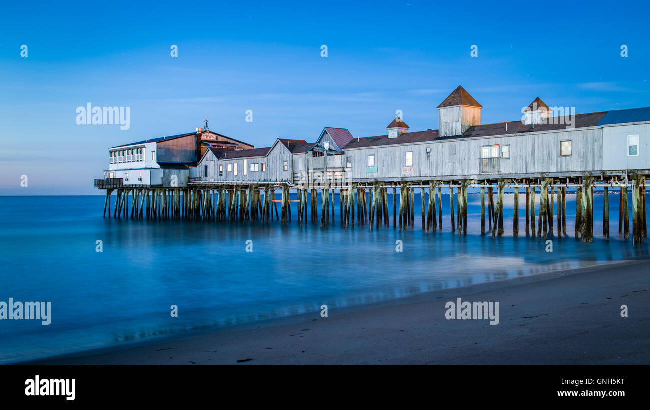 The Pier at Old Orchard Beach Maine - The Blue Hour - Stock Image