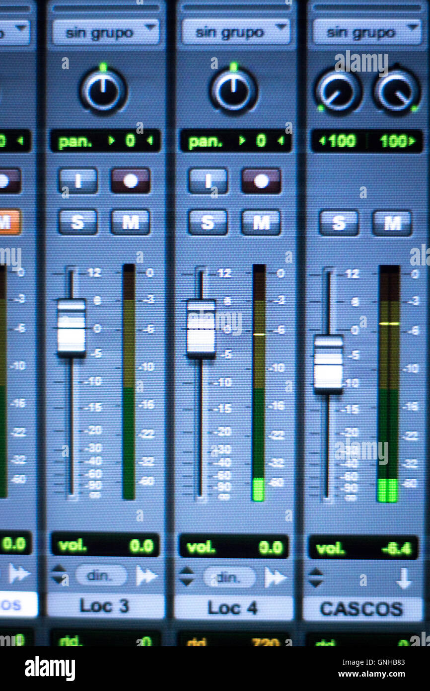 Professional sound recording audio studio digital equipment Stock