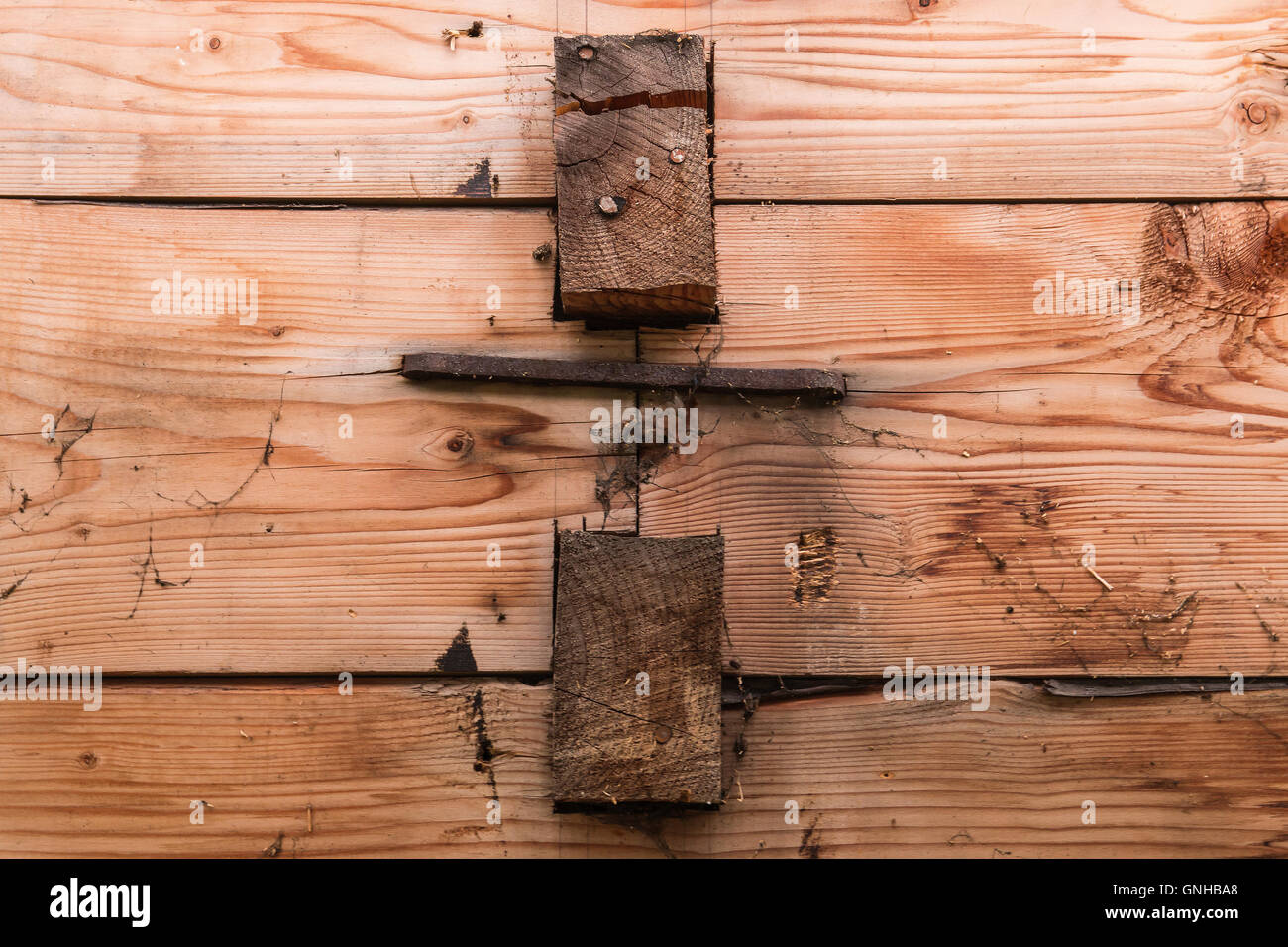 Cramp used for joining dovetailed machined timber in a 1927 farmhouse in Ørsta, Norway - Stock Image