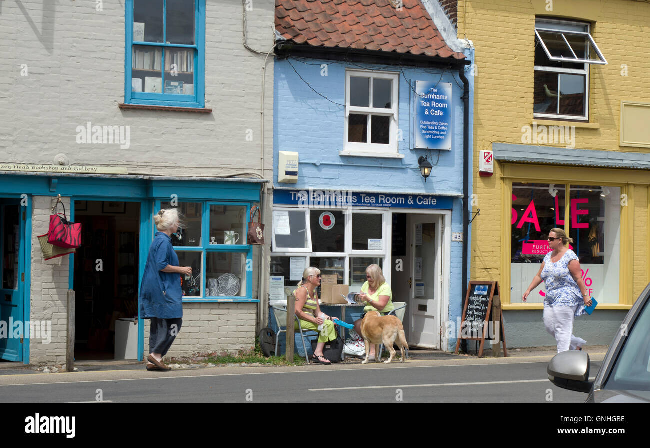 small shops in the trendy village of Burnham Market in North Norfolk. Sometimes known as Chelsea-by-the-Sea - Stock Image