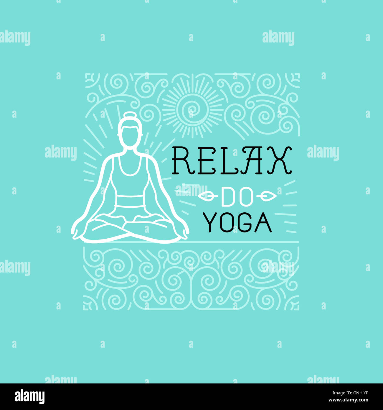 Yoga and sport motivation banner and poster in trendy linear