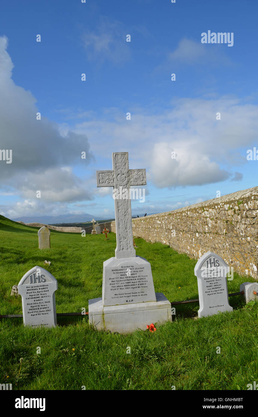Cross grave markers in the cemetery of the Rock of Cashel. - Stock Image