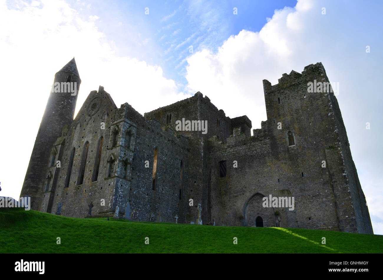 Looking Up at the Rock of Cashel in Ireland - Stock Image