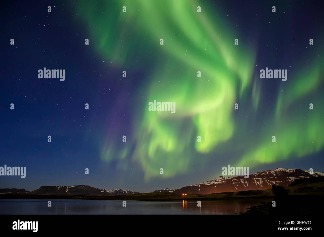 Aurora Borealis in Iceland - Stock Image