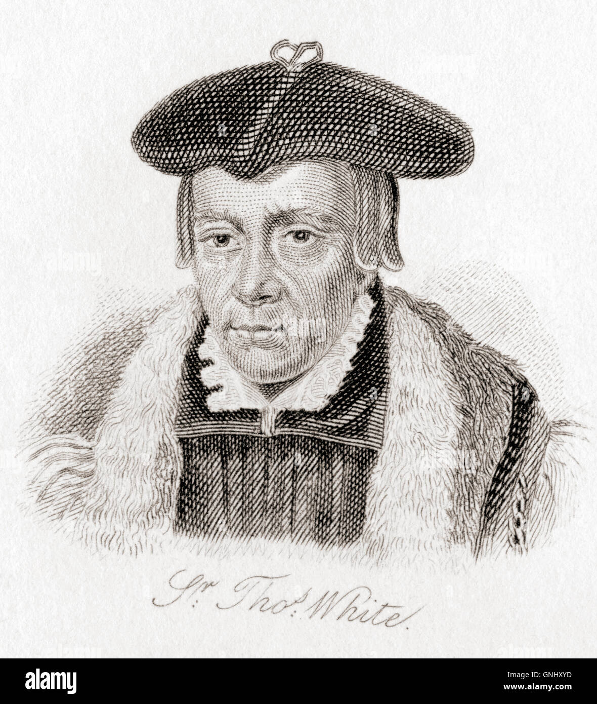 Sir Thomas White, 1492 – 1567.  English cloth merchant, Lord Mayor of London, civic benefactor and founder of St - Stock Image