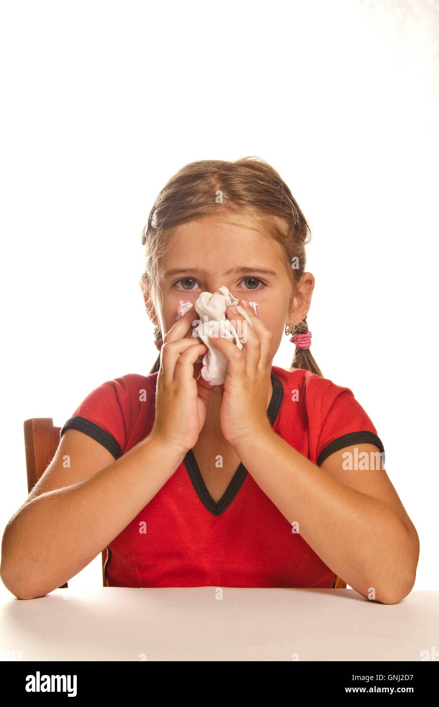 little girl with cold - Stock Image