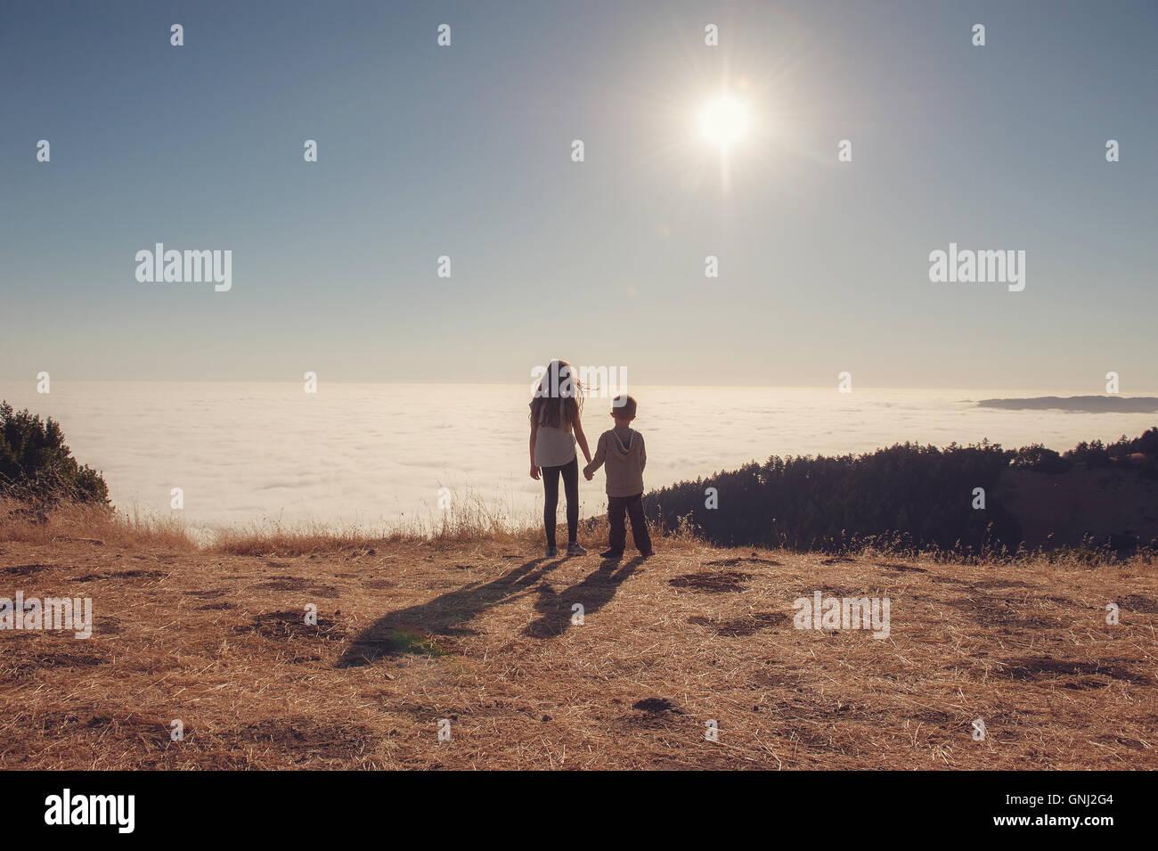Brother and sister holding hands, Mount Tamalpais, California, America, USA - Stock Image