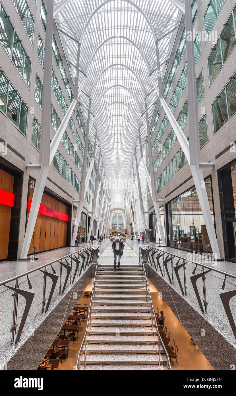 Alan Lambert Galleria, Atrium of Brookfield Place, previously known as BCE Place, Financial District, Toronto, Ontario, - Stock Image