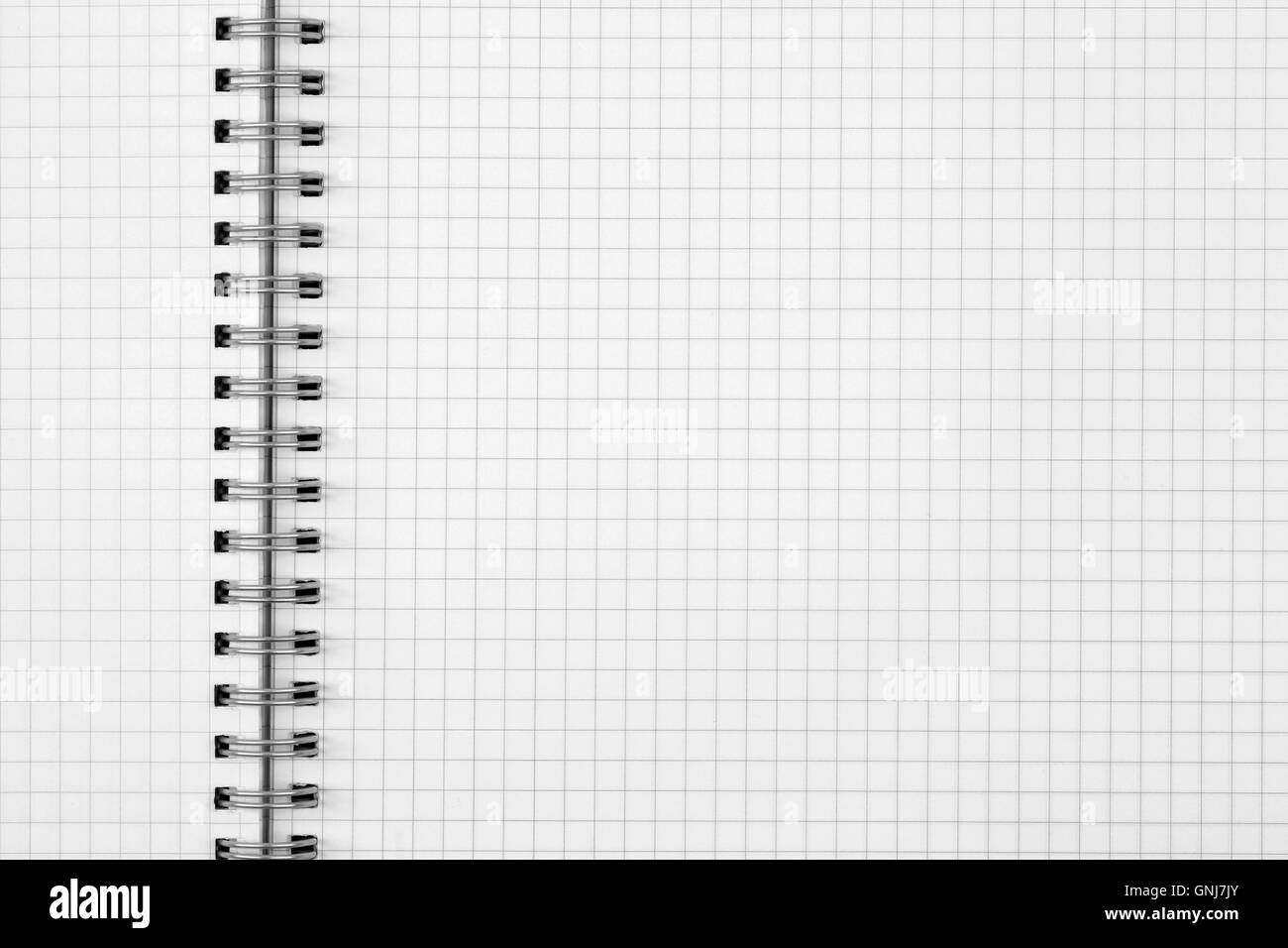 exercise book paper sheet background or grid pattern texture - Stock Image