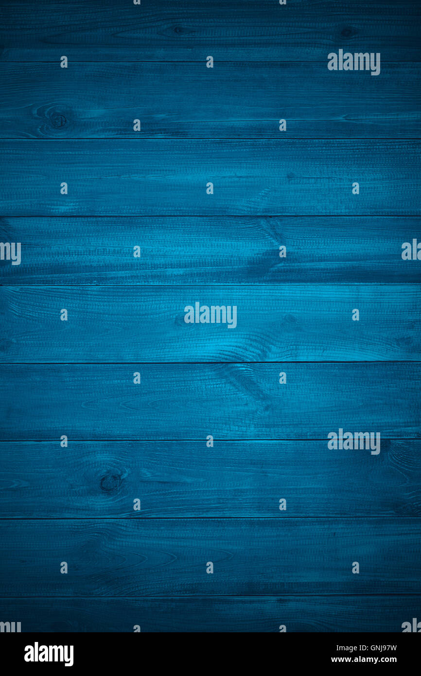 blue planks background or wooden rustic texture - Stock Image