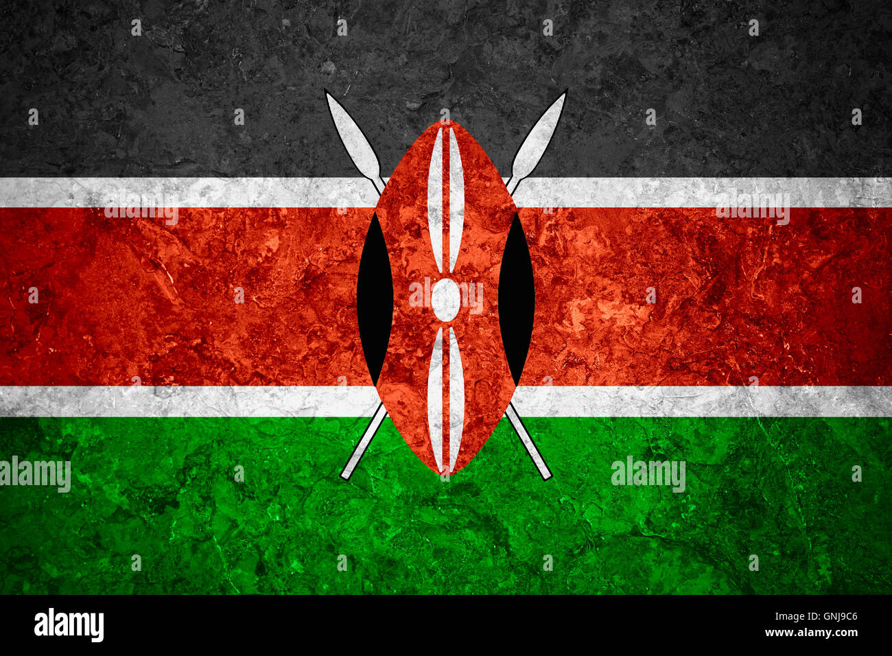 flag of Kenya or Kenyan banner on vintage background Stock Photo