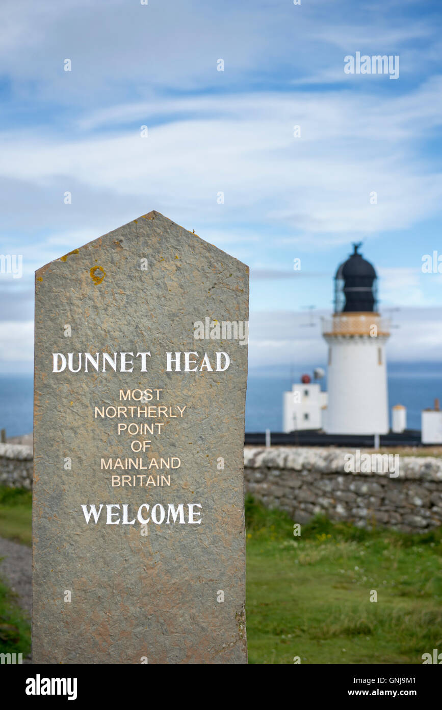 The lighthouse at Dunnet Head in Scotland, the most northerly point on mainland Britain - Stock Image