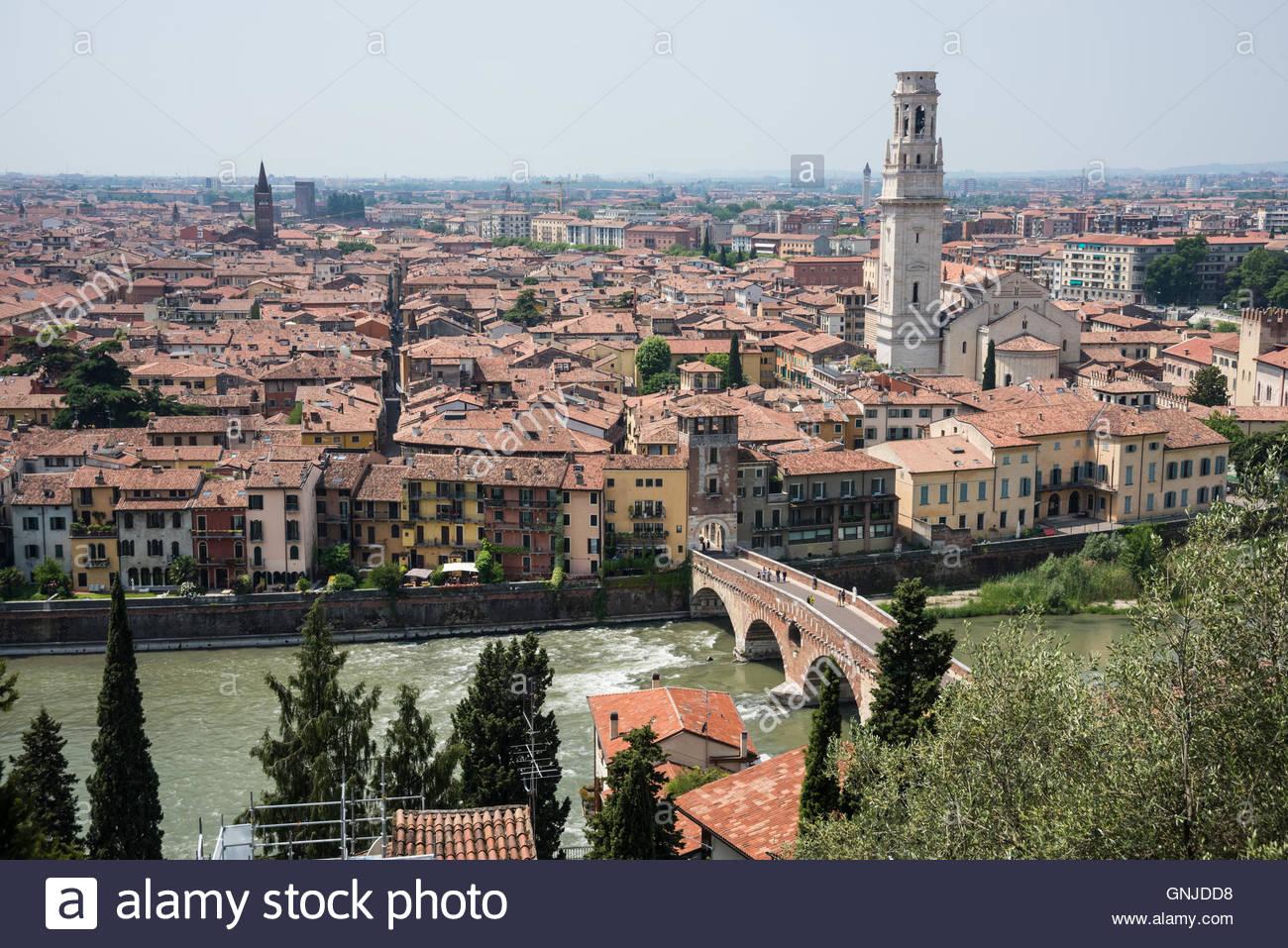 Verona, am Fluss Etsch - Stock Image