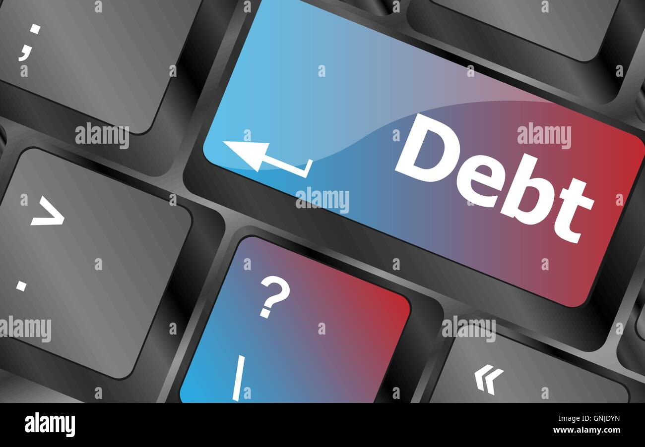 Computer keyboard key debt, business concept . keyboard keys. vector illustration - Stock Vector
