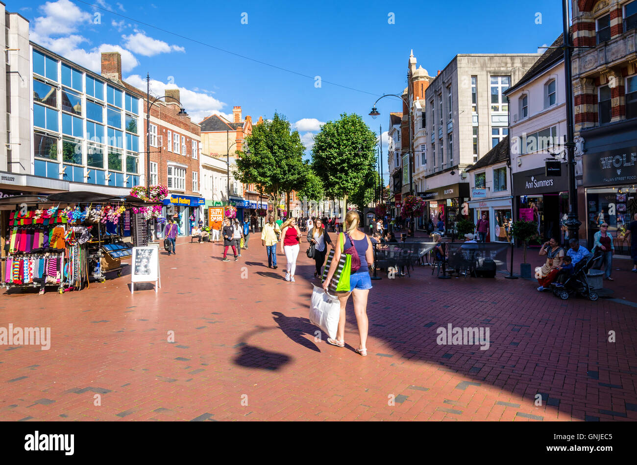 Broad Street in Reading is the main shopping street in the town centre. Stock Photo