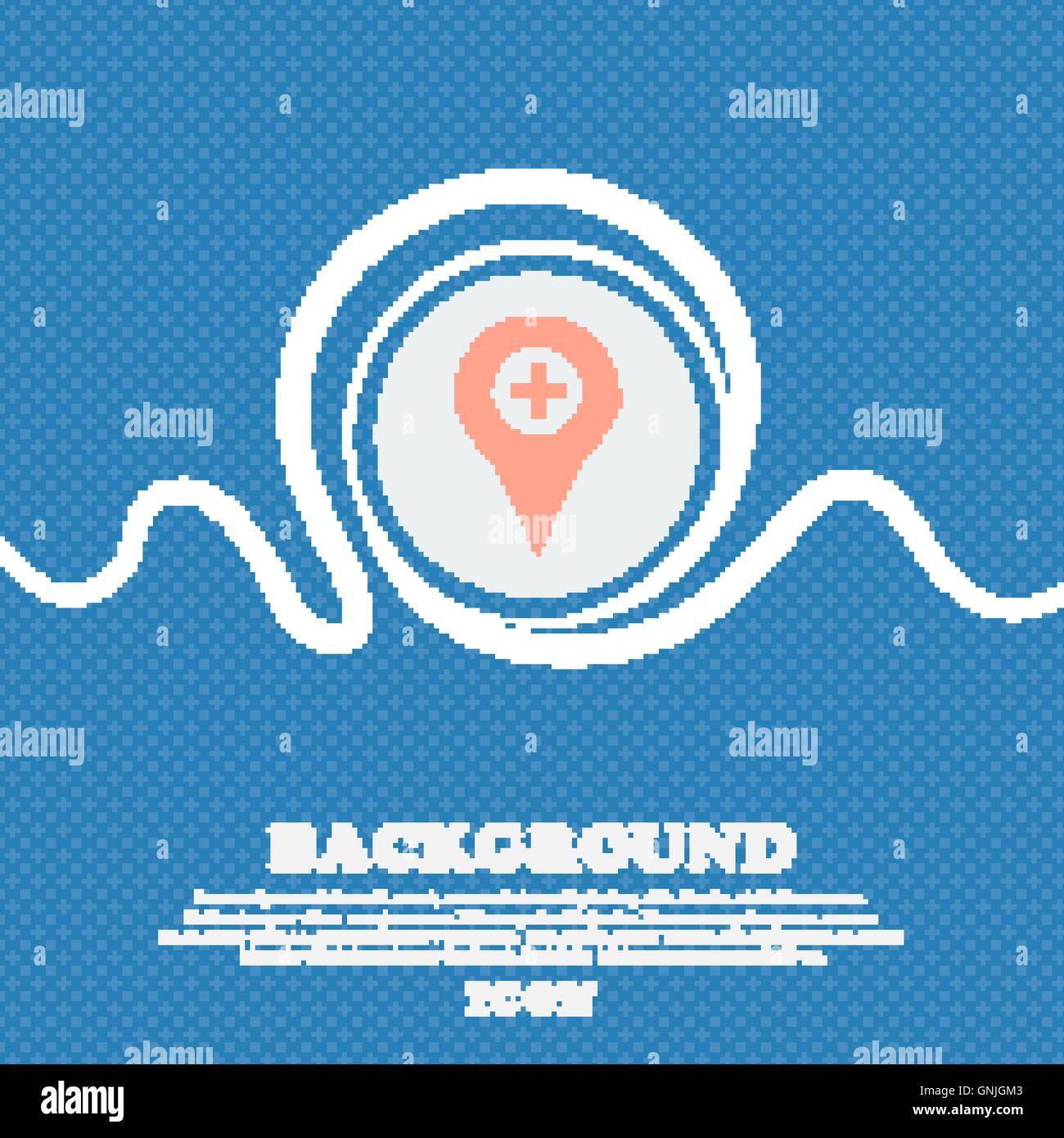 Plus Map pointer, GPS location sign icon  Blue and white