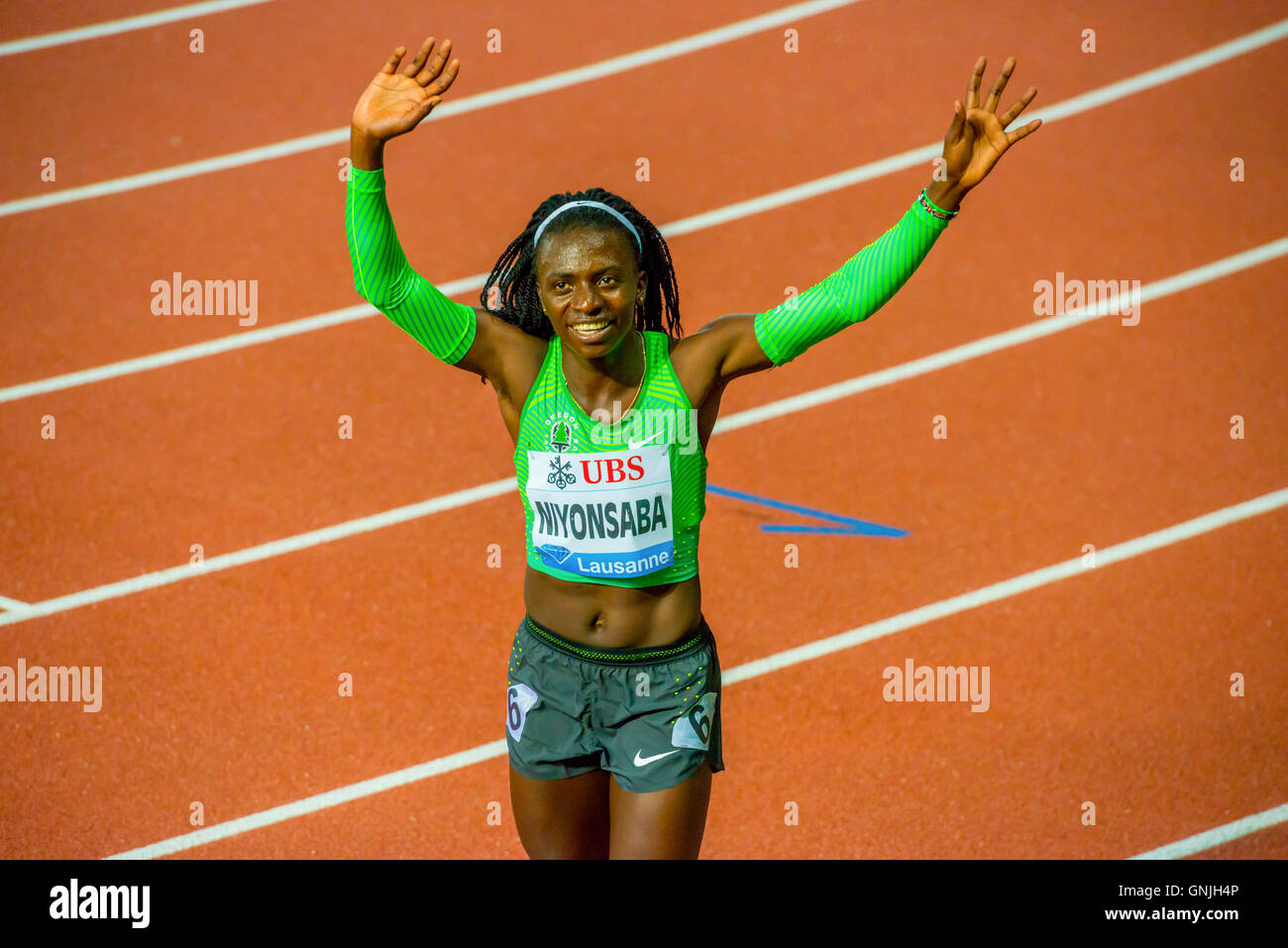Francine Niyonsaba (BDI) at the Athletissima 2016 IAAF Diamond League, after her win in the 800m Women, in 1:57,71 - Stock Image
