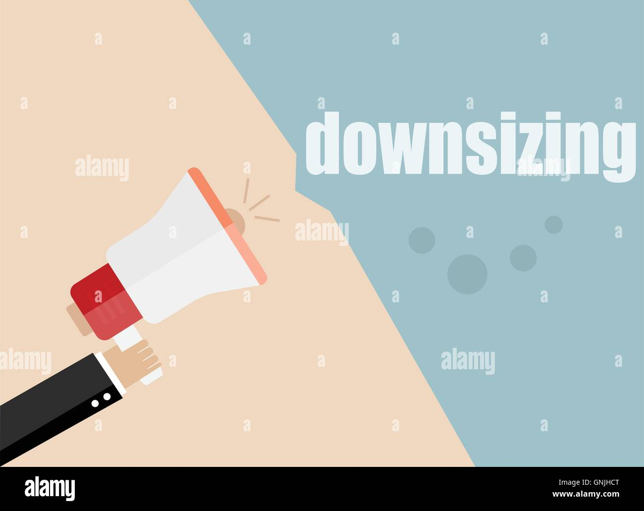 downsizing. Megaphone Flat design vector business illustration concept Digital marketing business man holding megaphone - Stock Vector