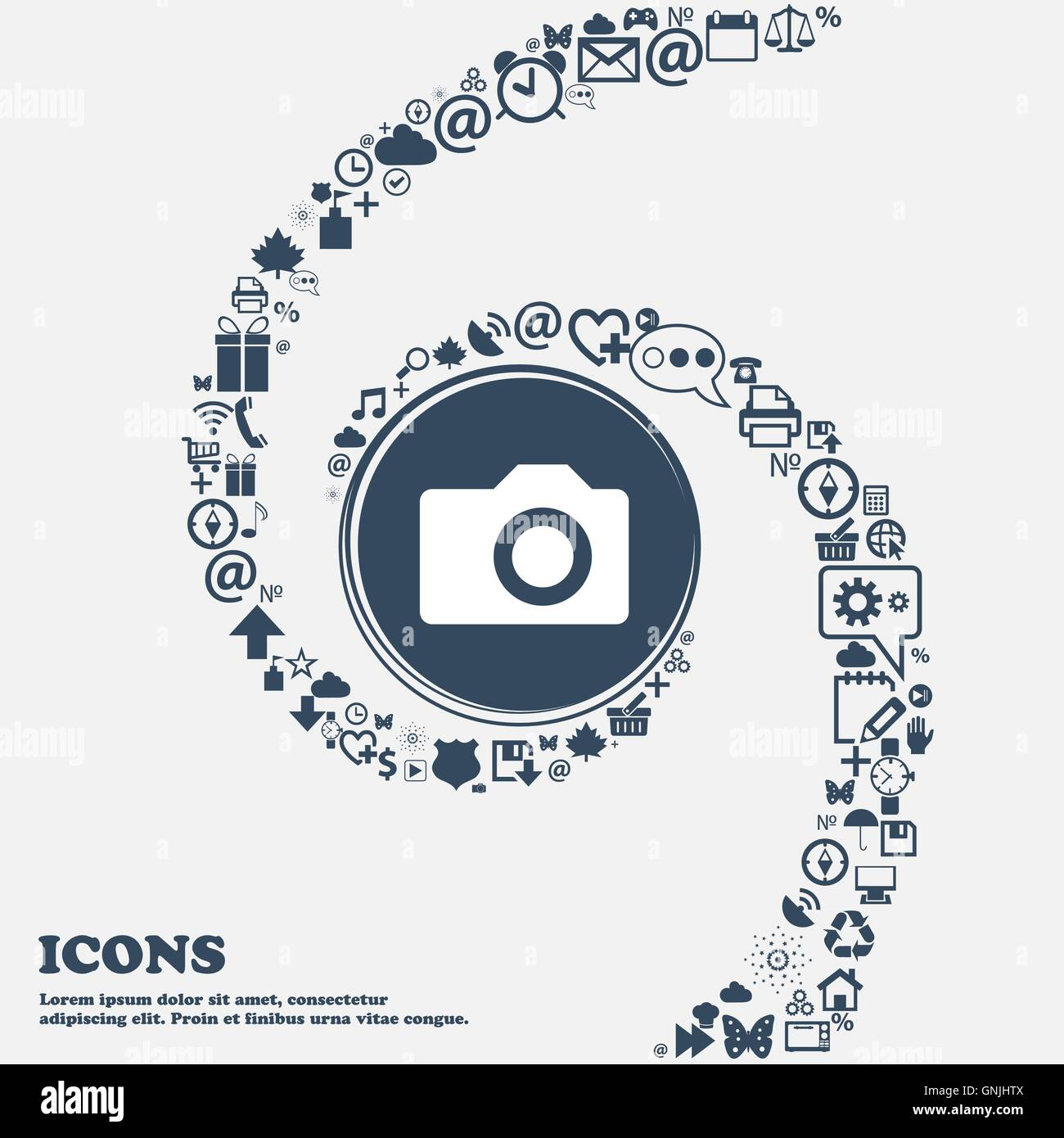 Digital photo camera icon sign in the center. Around the many beautiful symbols twisted in a spiral. You can use - Stock Vector