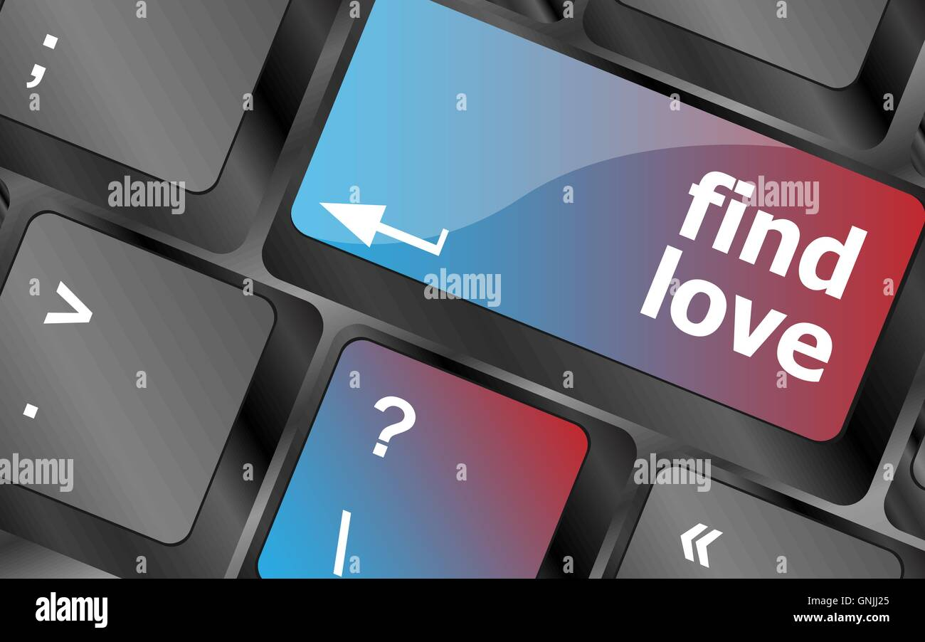A keyboard with a find love button - social concept . keyboard keys. vector illustration - Stock Image
