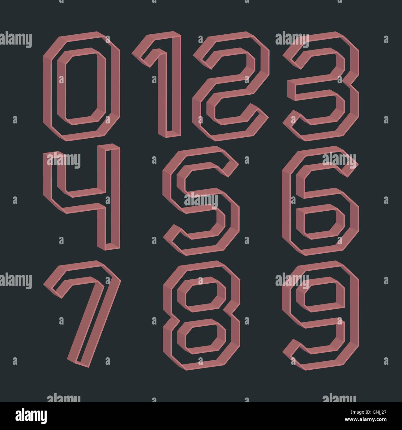 A set of numbers, vector illustration. - Stock Image
