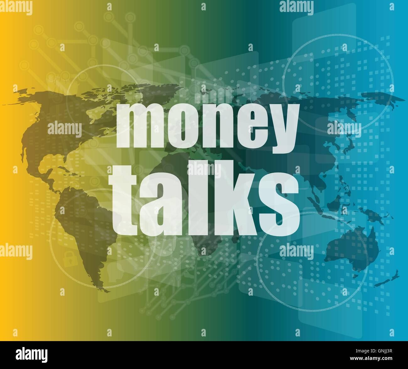 money talks words on digital touch screen vector quotation marks with thin line speech bubble. concept of citation, - Stock Vector
