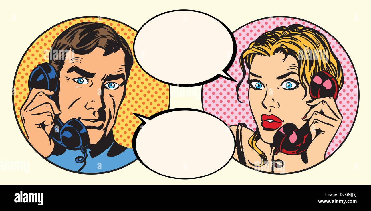 Vintage couple man and woman talking on the phone - Stock Vector
