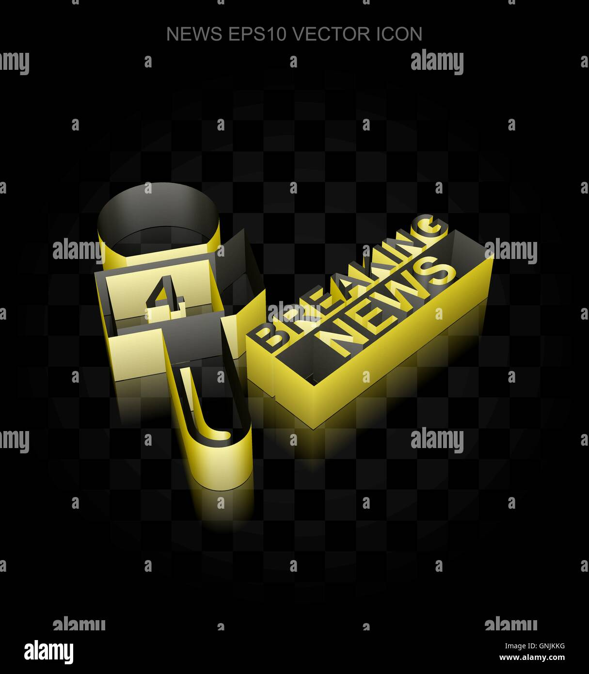 News icon: Yellow 3d Breaking News And Microphone made of paper, transparent shadow, EPS 10 vector. - Stock Image