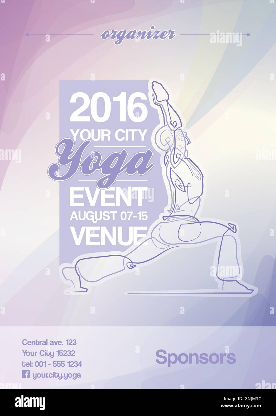 Yoga Event Poster Purple Blue