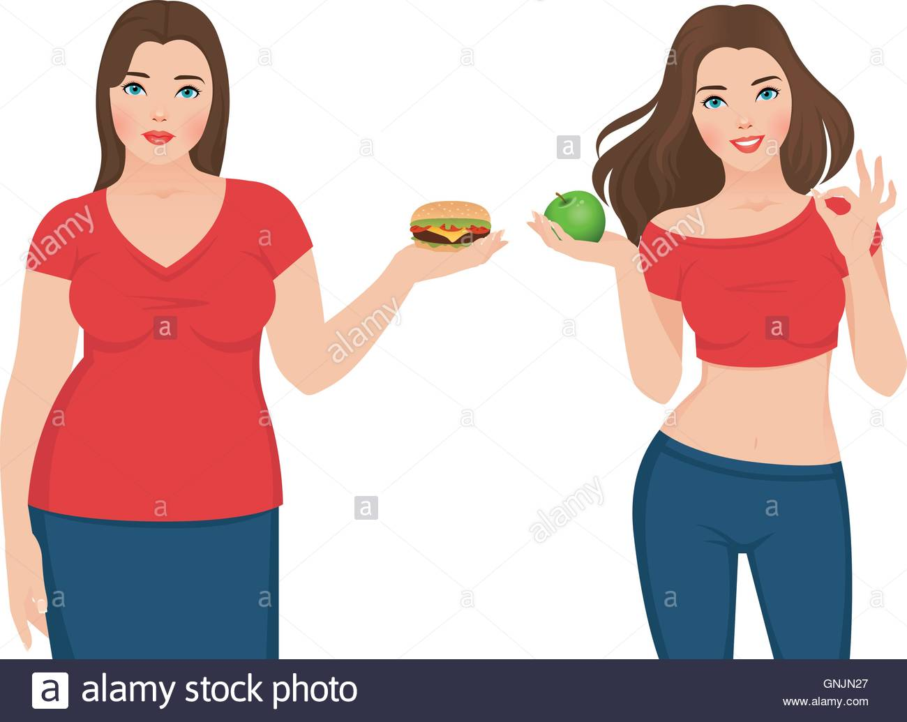 Fat And Slim Woman Before And After Weight Loss Stock Vector Image Art Alamy