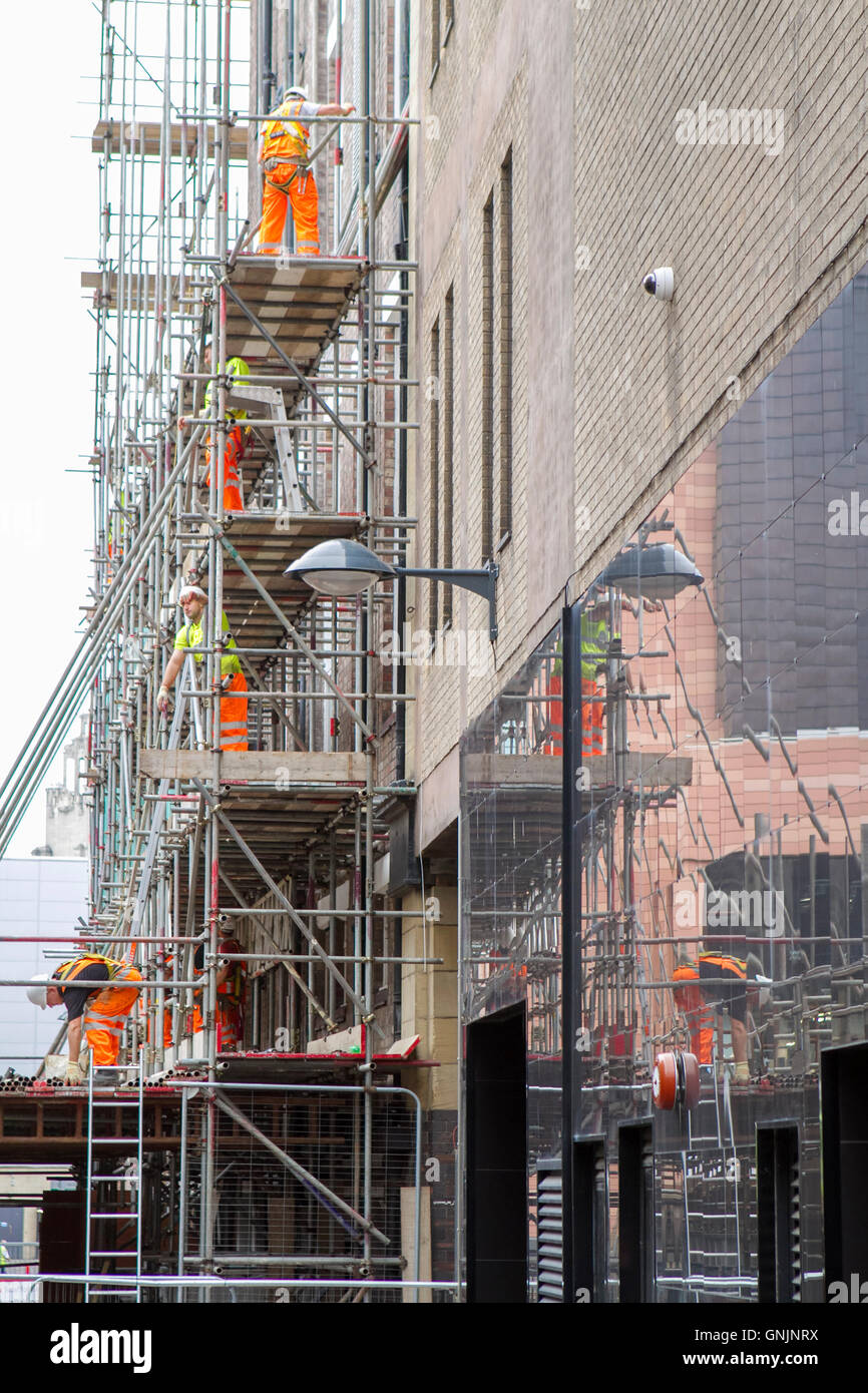 King's scaffolding, construction and refurbishment in Liverpool One, Merseyside, UK - Stock Image