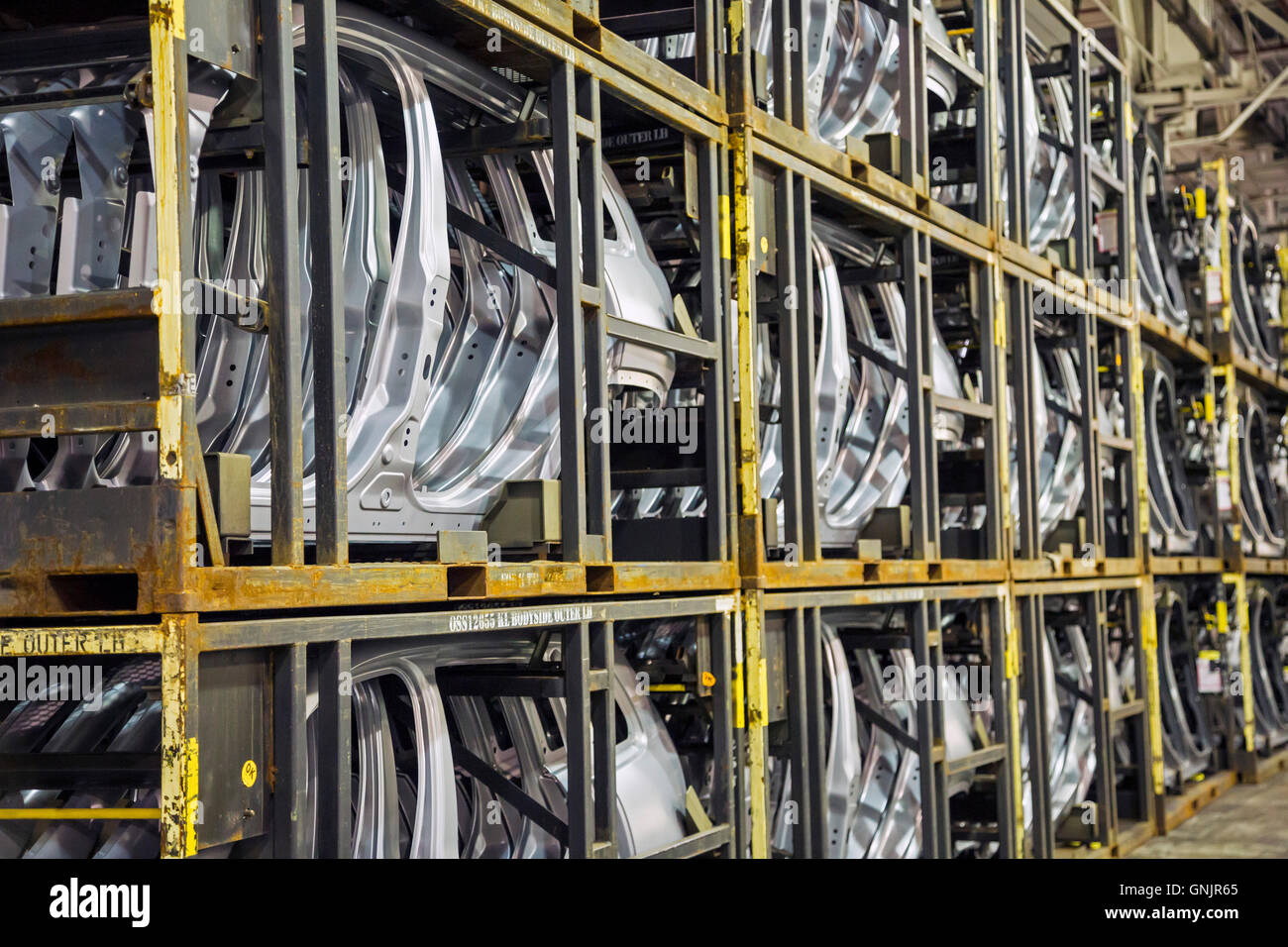 Sterling Heights, Michigan - Automobile door panels stacked in racks at Fiat Chrysler Automobiles' Sterling - Stock Image