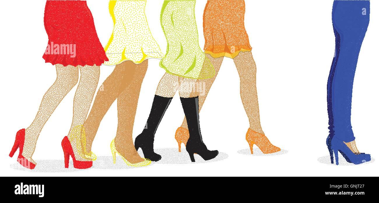 Womens Leg Dots - Stock Vector