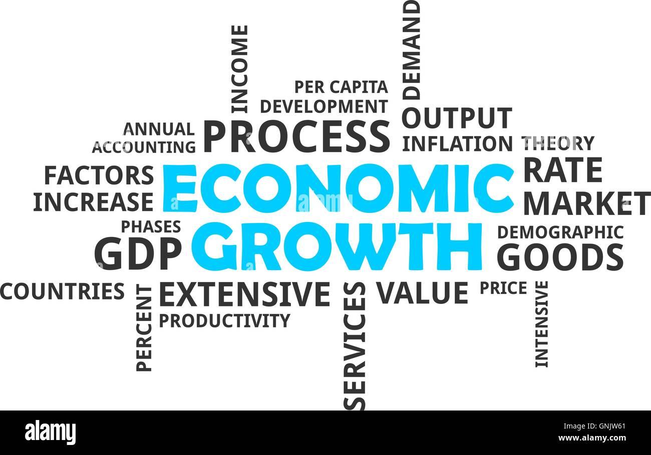word cloud - economic growth - Stock Image