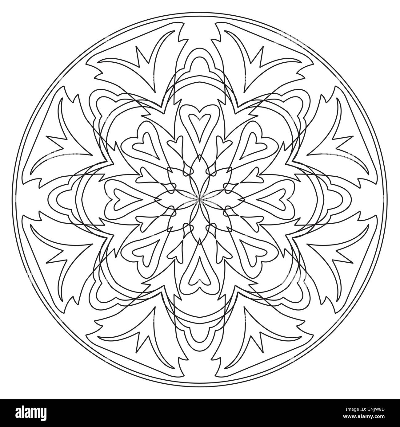 Vector mandala in black and white stock image