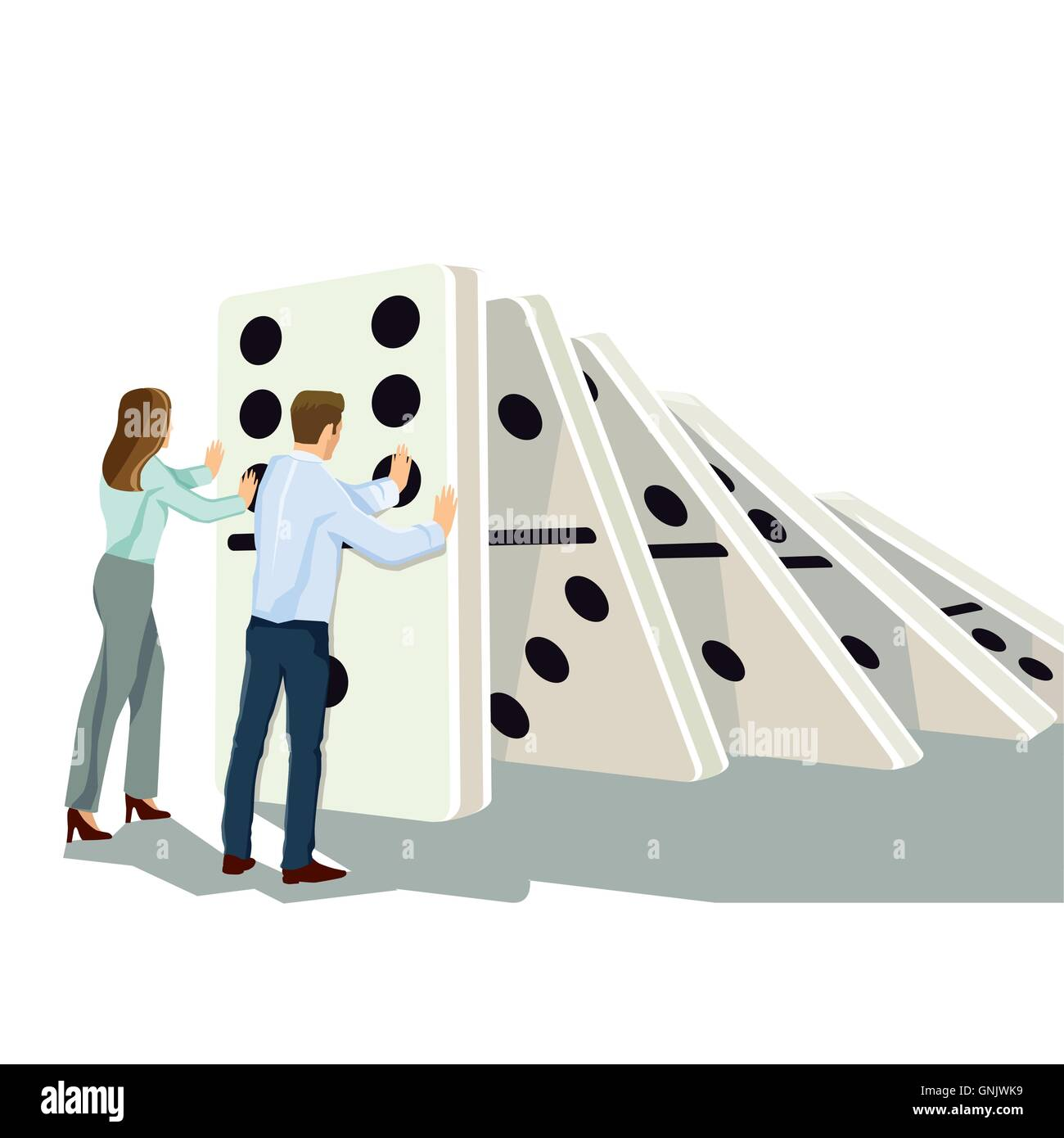 Domino effect - Stock Vector