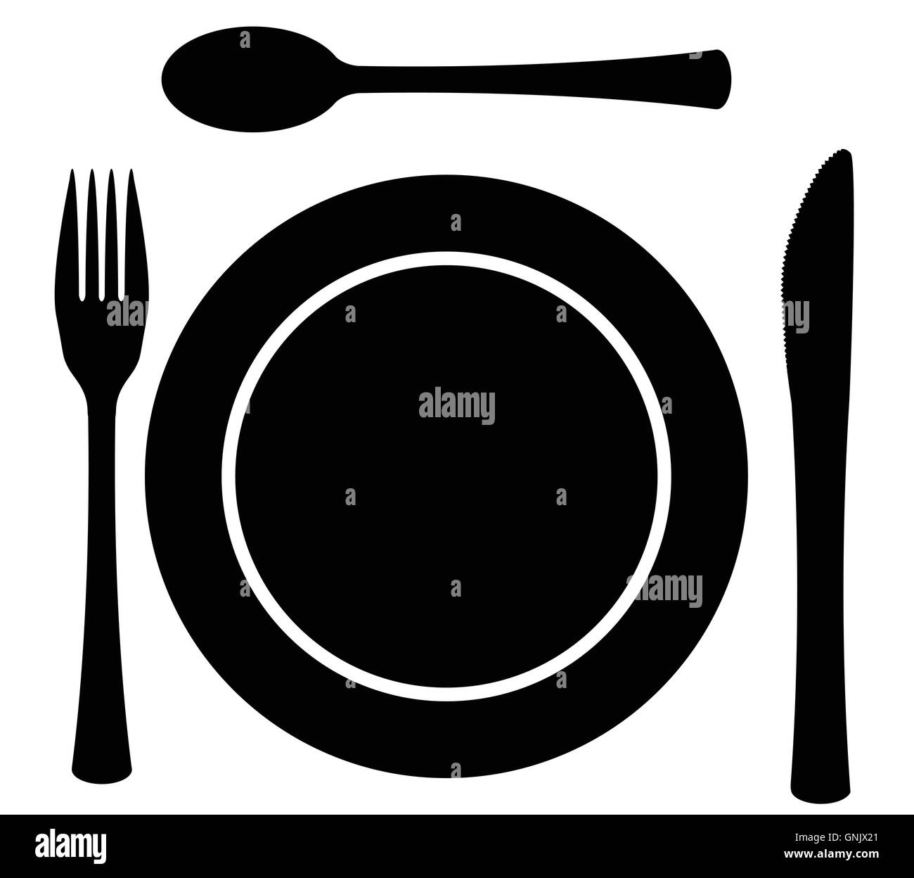 Metal Cutlery Plate Setting - Stock Image