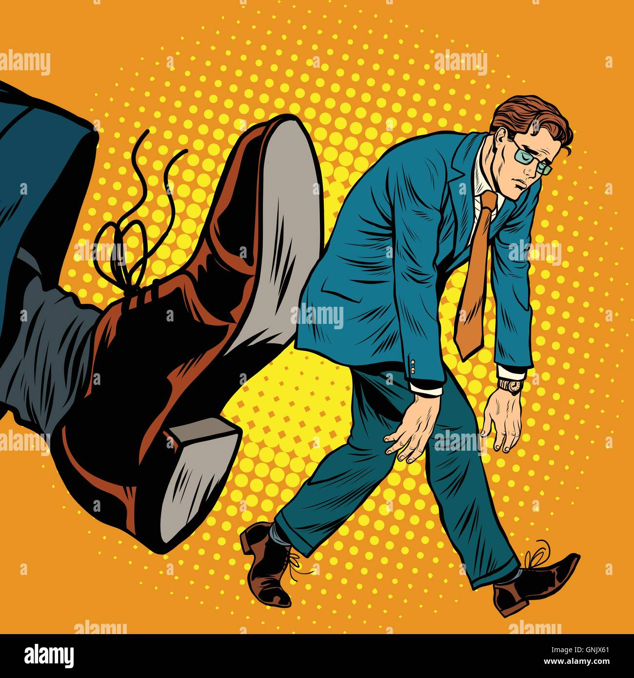 Businessman dismissal pop art - Stock Image