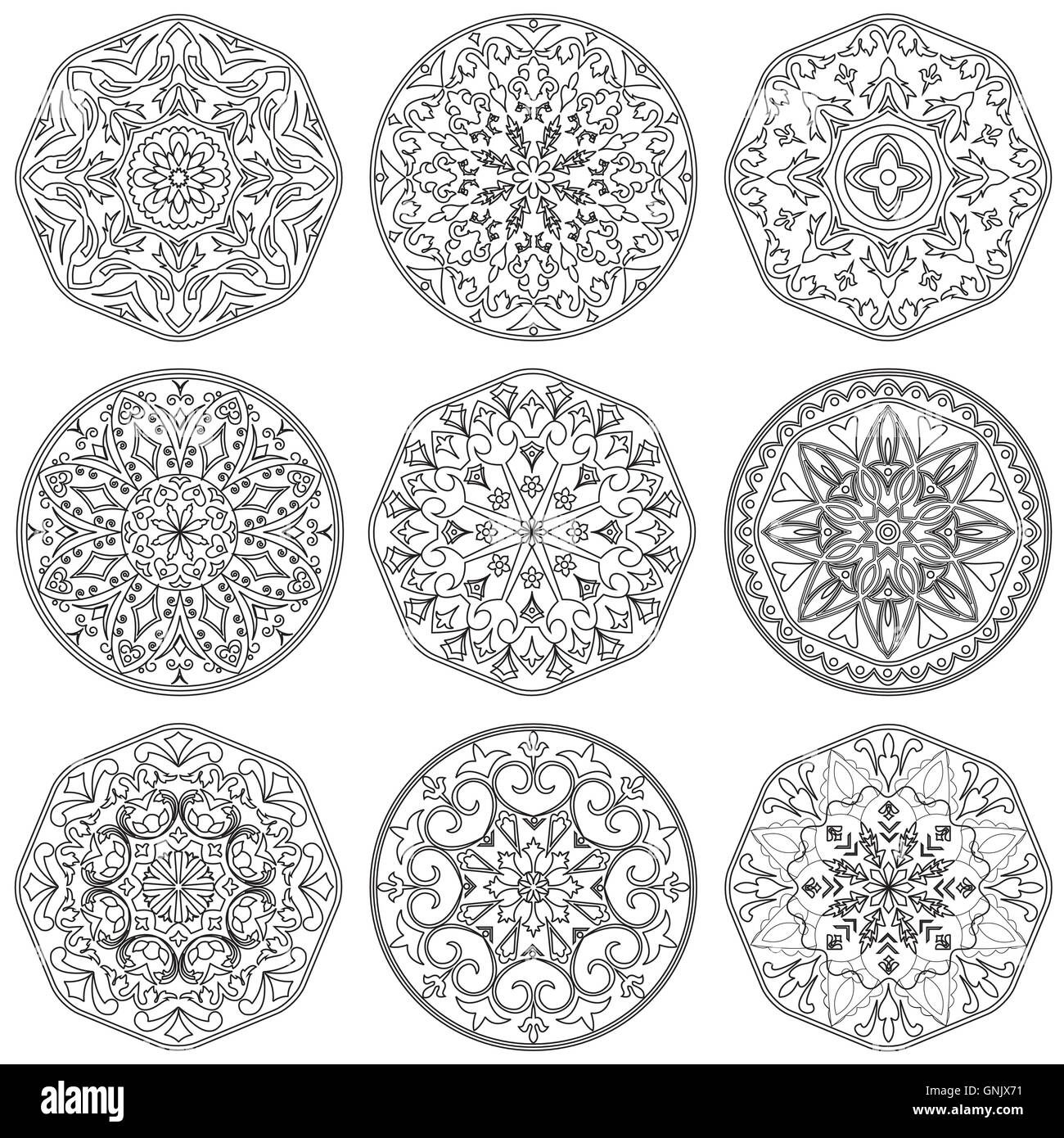 Set of 9 decorative elements mandala in black and white stock image