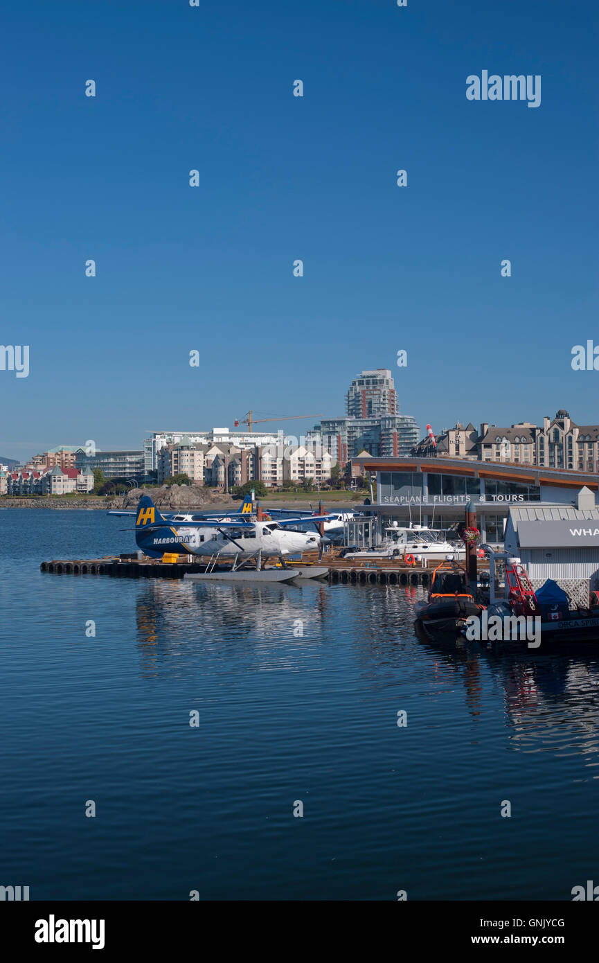 Float plane base at Victoria's inner harbour, Victoria, British Columbia, Canada. Stock Photo
